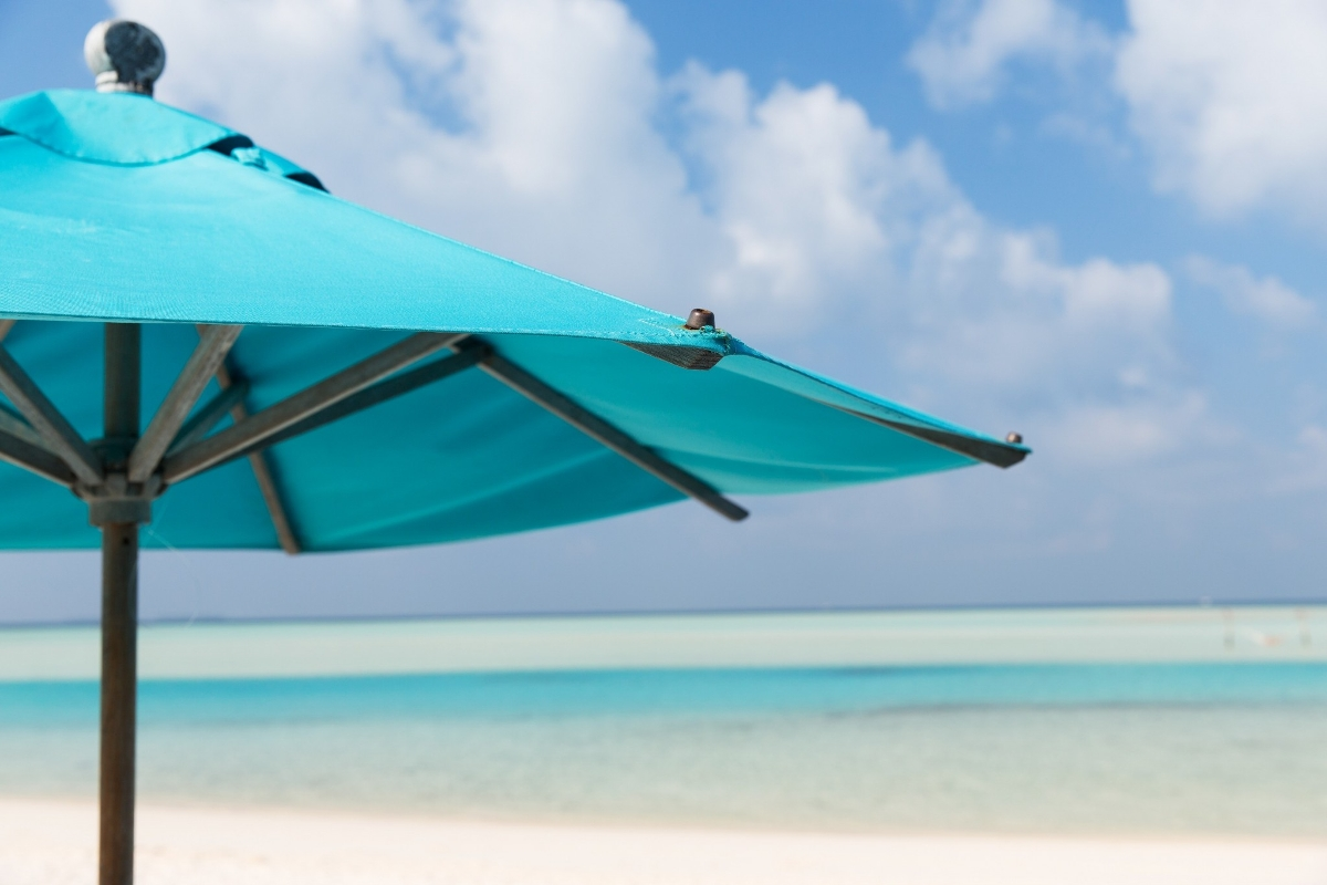 beach umbrella on the oceanfront